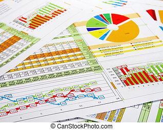 relatório, em, gráficos, e, diagramas