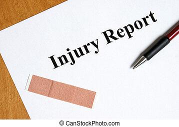 relatório, ferimento