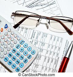 relatório financeiro, -, calculadora, óculos, e, papeis