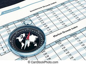 relatório, financeiro, compasso