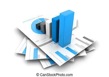 relatório, gráfico, negócio