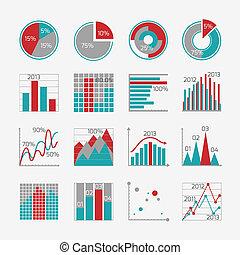 relatório, infographic, elementos, negócio