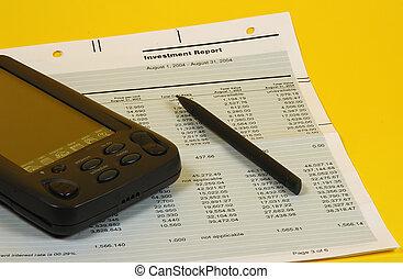 relatório, investimento