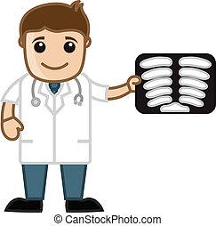 relatório, mostrando, raio x, doutor