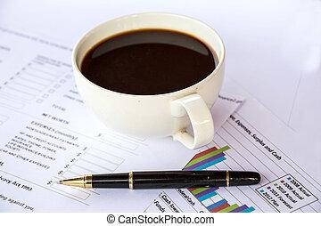 relatório negócio, com, caneta
