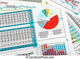 relatório negócio, em, gráficos, com, vendas, estatísticas