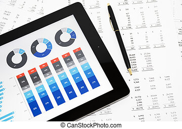 relatório negócio, ligado, tablete digital