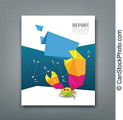 relatório, origami, papel, cobertura, carangueijo