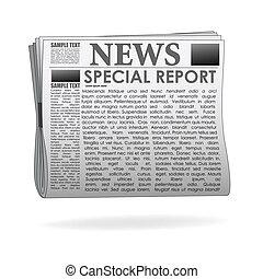 relatório, papel notícia, especiais