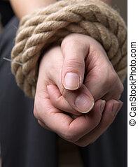 relatado, femininas, vítima, mão