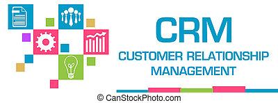 relation, client, coloré, symboles, -, gestion, horizontal, grille, carrés, crm