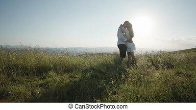 relation, couple, love., ensemble, agréable, mountain.