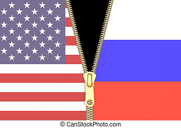 Relation from Russia and USA, political concept. 3D rendering