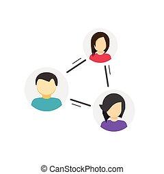 relation, samarbejd, personer, gruppe, lænke, sammenhænge, sociale, cirkel, lige, netværk, vektor, samarbejde, begreb, dele, mellem, folk, forbindelsen, eller, kommunikation, forbindelsen, ikon, samfund