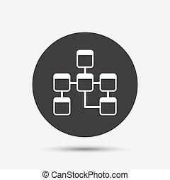 relational, icon., database, schema., segno