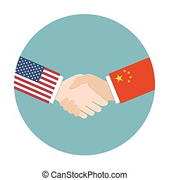 Relations concept between the USA and China