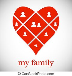 relations., concept:, rouges, vector., famille, 10., traditions., love., heart., eps