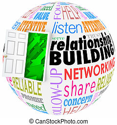 Relationship Building Words Ball Sphere Networking Paying...