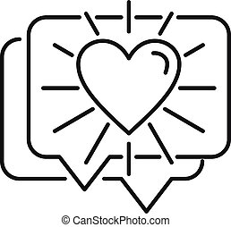 Relationship chat icon, outline style