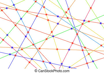 Relationship - Colorful lines create many links and cross...