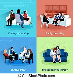 Relationship counseling 4 flat icons quare - Marriage...
