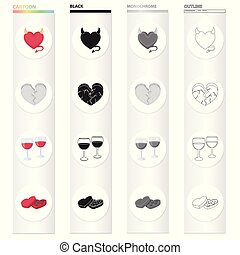 Relationship, friendship, holiday and other web icon in cartoon style .Love, hate, feeling icons in set collection.