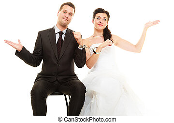 Relationship in married couple. Bride and groom with...
