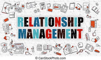 Relationship Management in Multicolor. Doodle Design.
