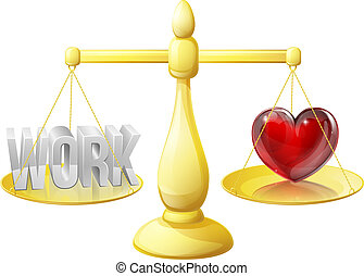Relationship or career scales concept of work on one side and a heart representing love on the other, could also be about work life balance.