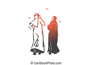 Relationship problem, ignore concept sketch. Arab businessman and businesswoman partnership, ignore, muslim couple on walk, husband discussing business on stroll with wife. Hand drawn isolated vector