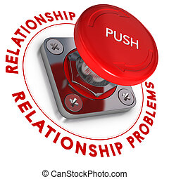 Red push button over white background. Relationship problems and urgency.