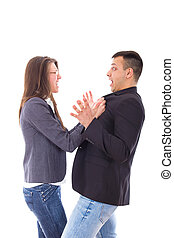 relationship problems. Young business couple quarrelling,...