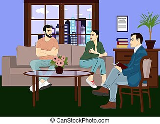 Relationship specialist vector icon. Family support and emotions therapy illustration. Man and woman on the couch in marriage counseling center realistic style design. Eps 10.