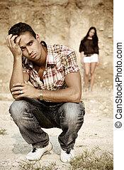relationship - adult relationship. emotional scene on nature