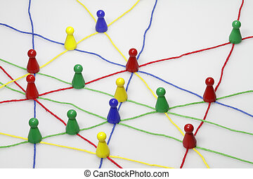 Relationship - Colorful ribbons create many links and cross...