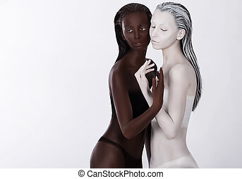Relationship. Unity. Two Religious Asian Women in Embrace. Harmony