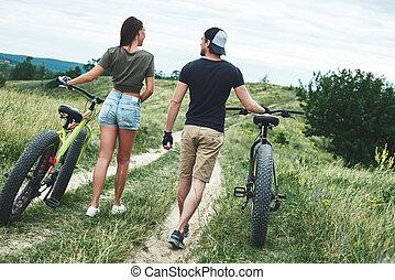 relationships., 恋人, サイクリング, 女, 人, 後部光景