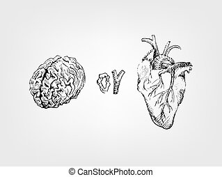 Relationships concept poster, heart or mind, brain.