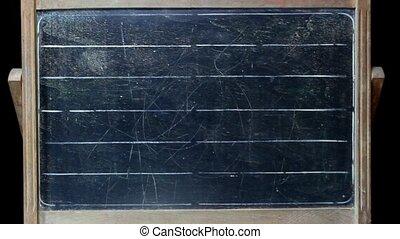 writing relativity formula on vintage blackboard