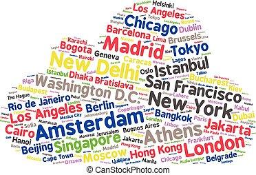 relativo, cl, città, mondo, parola