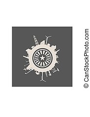 relativo, indústria, silhuetas, círculo
