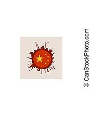 relativo, silhouettes., indústria, círculo china