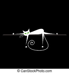 relax., γάτα , σχεδιάζω , μαύρο , άσπρο , δικό σου