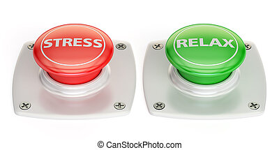 relax and stress push button, 3D rendering
