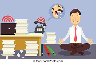 Relax at work. Vector flat cartoon illustration