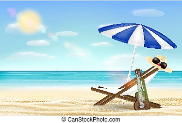 relax beach chair umbrella with sea beach background