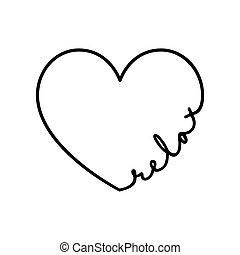 Relax - calligraphy word with hand drawn heart. Lettering symbol illustration for t-shirt, poster, wedding, greeting card
