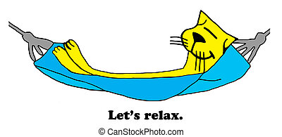 Relax - Cat cartoon about relaxing.