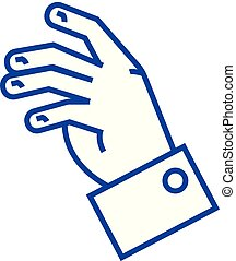 Relax hand line icon concept. Relax hand flat vector symbol, sign, outline illustration.