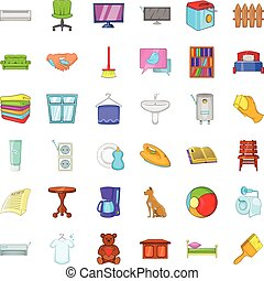 Relax in house icons set, cartoon style